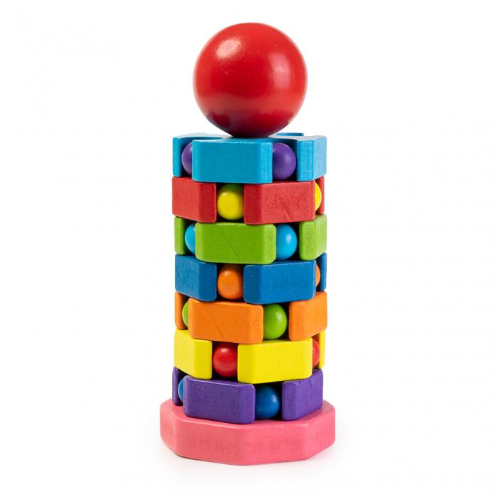Jucarie din lemn tip puzzle - turn pentru stivuit 1