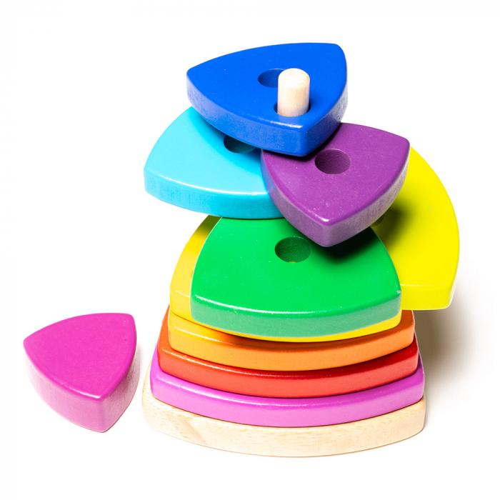 Jucarie din lemn - turn pentru stivuit-culorile curcubeului [1]