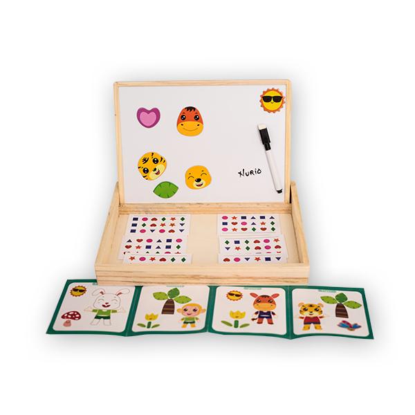 Jucarie multifunctionala din lemn cu tablita magnetica  si puzzle [1]
