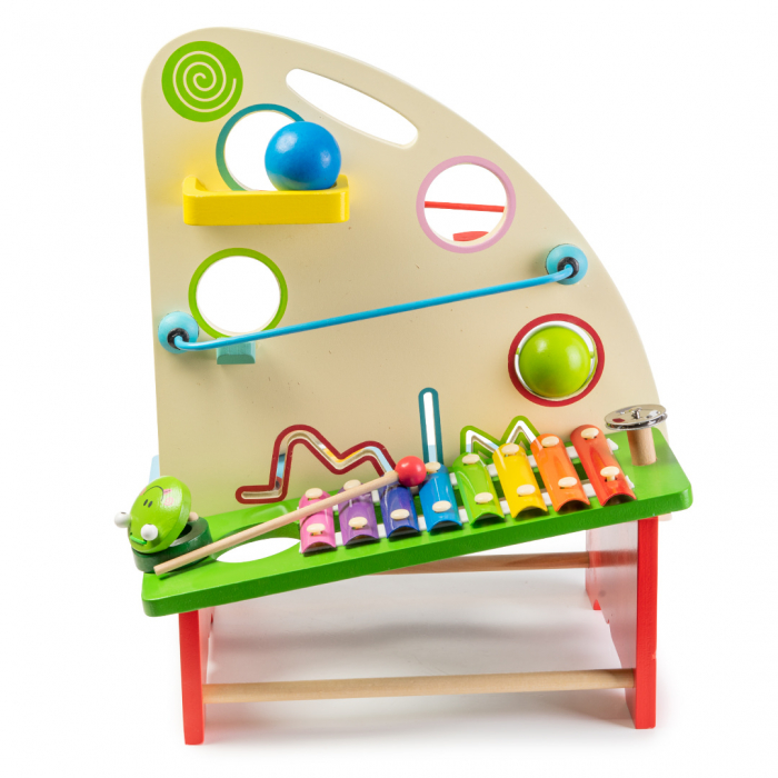 Jucarie multifunctionala din lemn - instrumente percutie si carusel bile 0