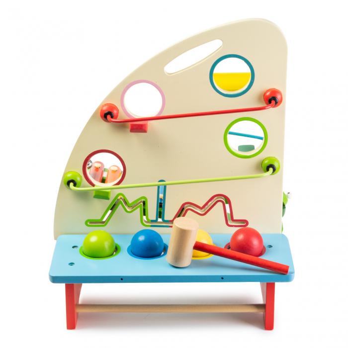 Jucarie multifunctionala din lemn - instrumente percutie si carusel bile 1