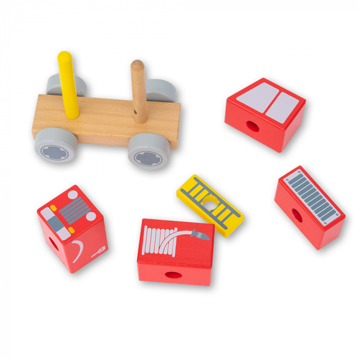 Blocuri de constructie din lemn tip masina de pompieri 1
