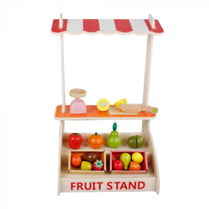 Magazin - stand pentru fructe si legume din lemn colorat cu accesorii 0