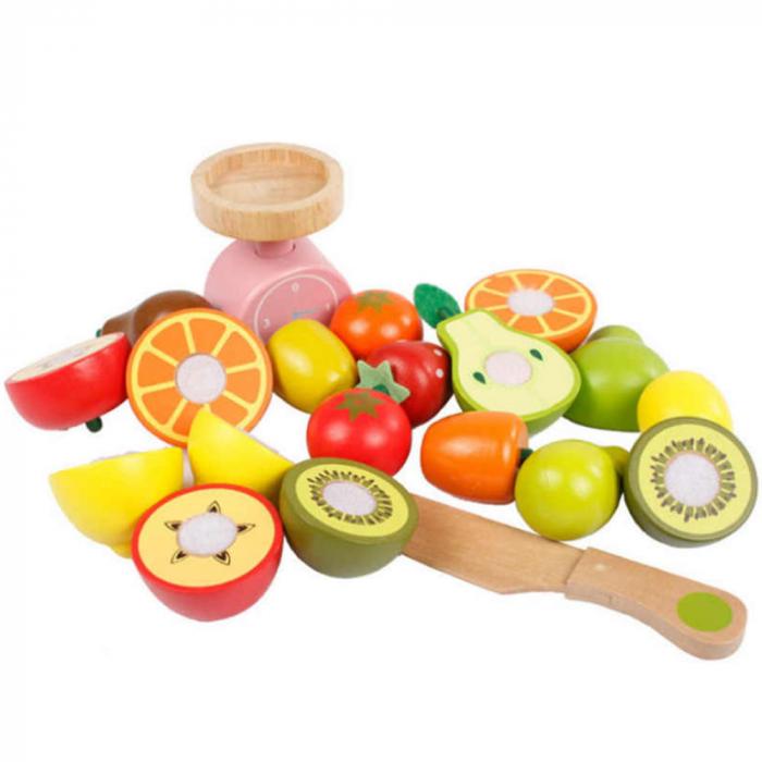 Magazin - stand pentru fructe si legume din lemn colorat cu accesorii 2