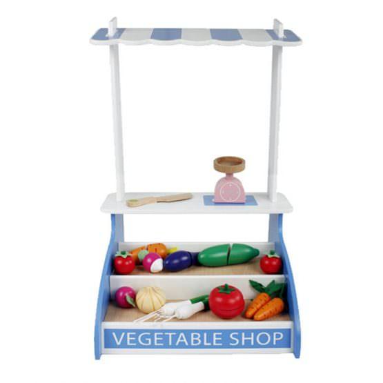 Magazin - stand pentru legume din lemn colorat cu accesorii 0