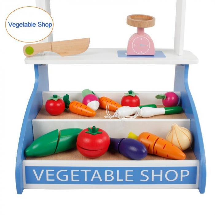 Magazin - stand pentru legume din lemn colorat cu accesorii [1]