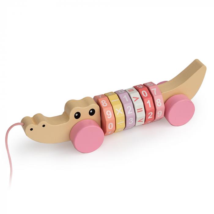 Jucarie cu snur pentru tras in forma de crocodil cu roz cu cifre si simboluri 0