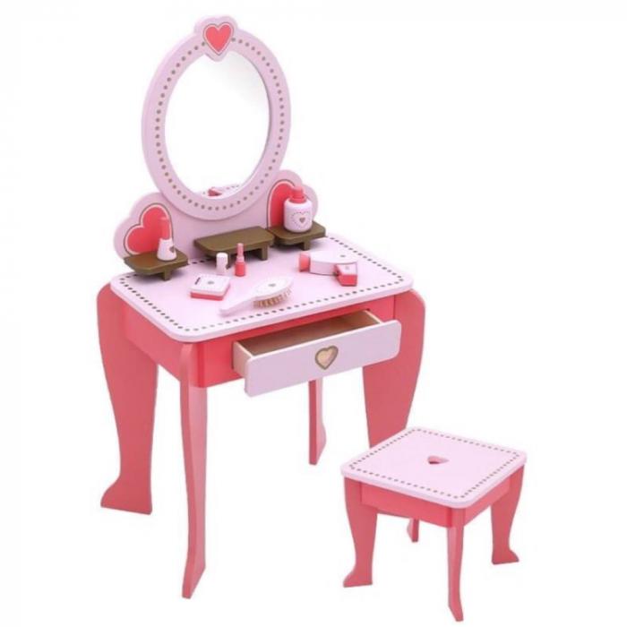 Masuta de make up din lemn cu scaunel si accesorii 0