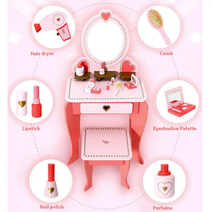 Masuta de make up din lemn cu scaunel si accesorii 2