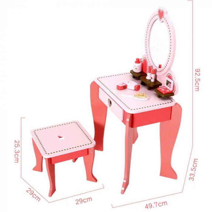 Masuta de make up din lemn cu scaunel si accesorii 1