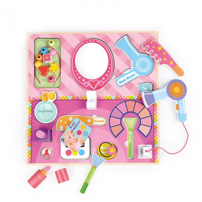 Masuta de make up din lemn roz cu accesorii-puzzle 3D 1