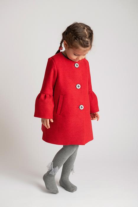 Palton Elegant Rosu cu Nasturi 8