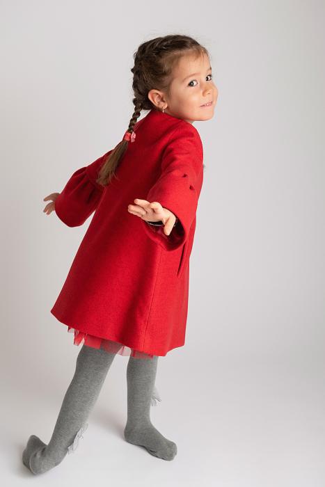 Palton Elegant Rosu cu Nasturi 5