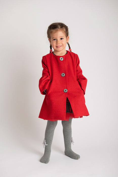 Palton Elegant Rosu cu Nasturi 0