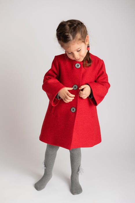 Palton Elegant Rosu cu Nasturi 3