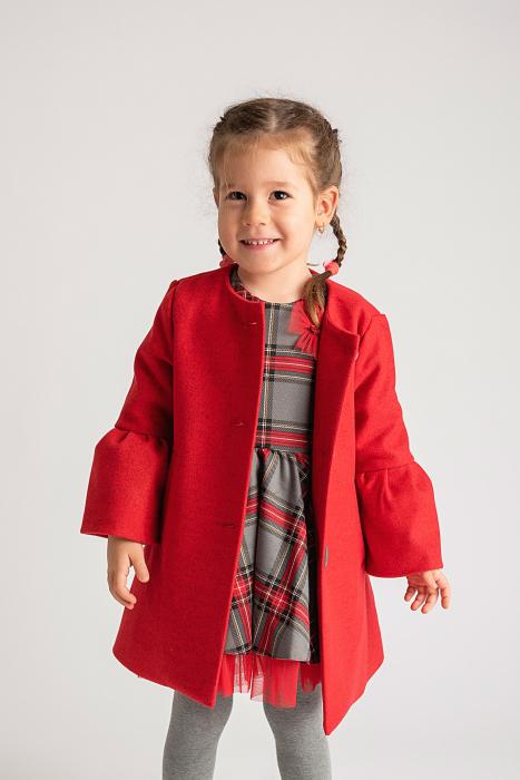Palton Elegant Rosu cu Nasturi 1