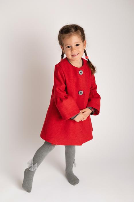 Palton Elegant Rosu cu Nasturi 4