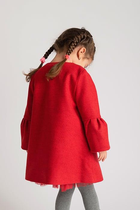 Palton Elegant Rosu cu Nasturi 6