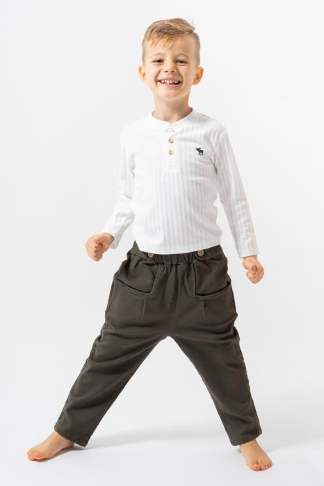 Pantalon lung culoare kaki 0