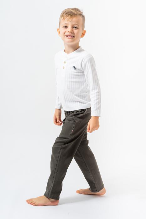 Pantalon lung culoare kaki 1