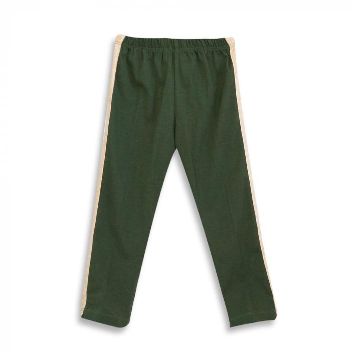 Pantalon tip legging culoare verde militar cu dungi contrastante [0]