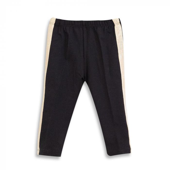 Pantalon tip legging culoare negru cu dungi contrastante 0