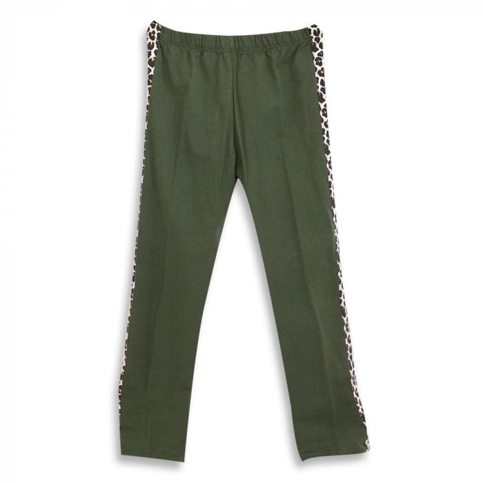 Pantalon tip legging culoare verde militar cu dungi contrastante imprimeu animal print 0
