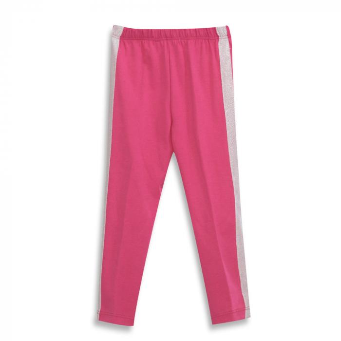 Pantalon tip legging culoare fucsia cu dungi contrastante 0