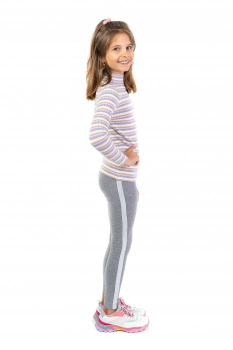 Pantalon tip legging cu dungi contrastante [2]