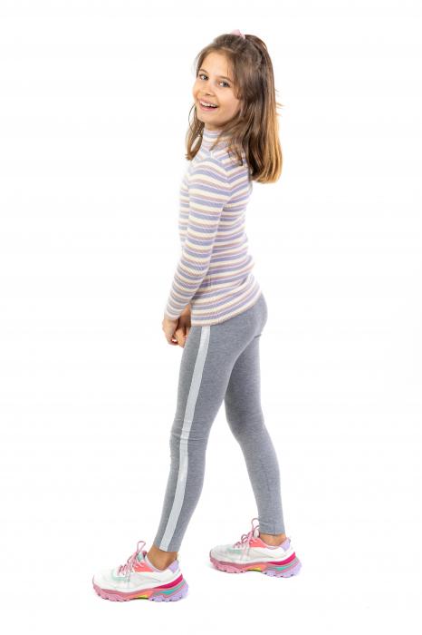 Pantalon tip legging cu dungi contrastante [0]