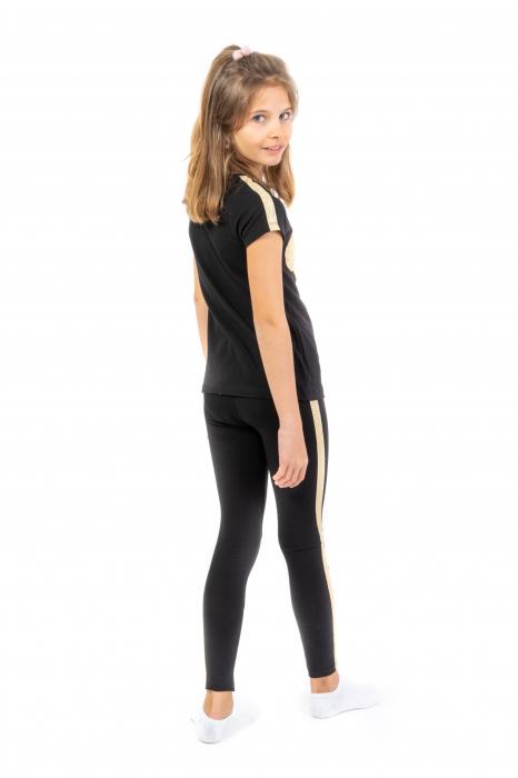 Pantalon tip legging culoare negru cu dungi contrastante [2]