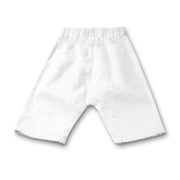 Pantaloni albi din bumbac si in cu bulina maro [1]