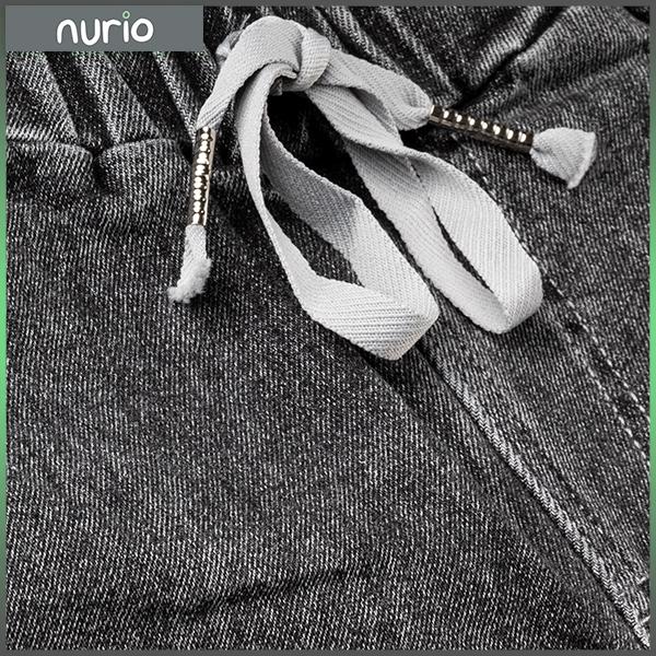Pantaloni denim negru cu elastic in talie 8