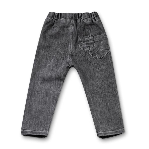 Pantaloni denim negru cu elastic in talie 7