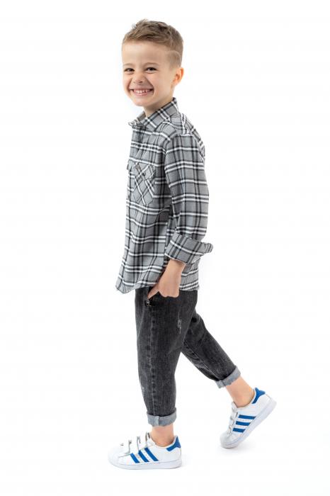 Pantaloni denim negru cu elastic in talie 1