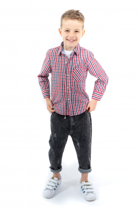 Pantaloni denim negru cu elastic in talie 4