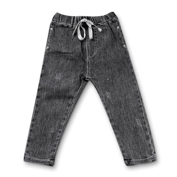 Pantaloni denim negru cu elastic in talie 6