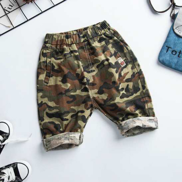 Pantaloni din  bumbac cu imprimeu camuflaj [3]