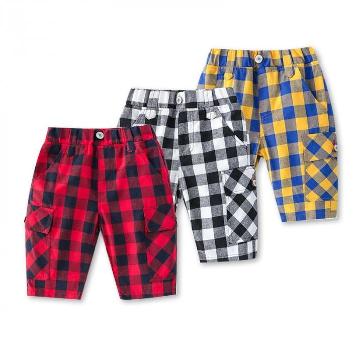 Pantaloni in carouri din  bumbac culori galben si albastru 3