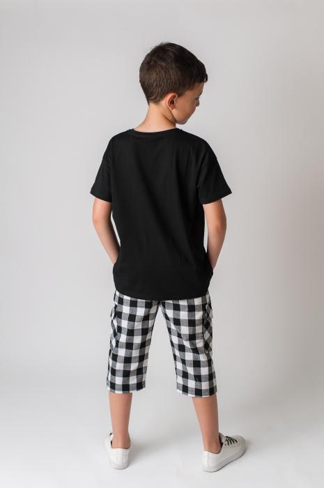 Pantaloni in carouri din  bumbac culori alb si negru [4]