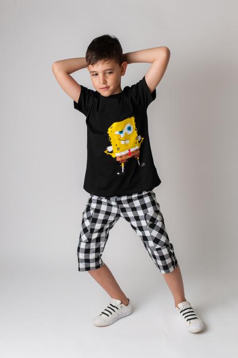 Pantaloni in carouri din  bumbac culori alb si negru [2]