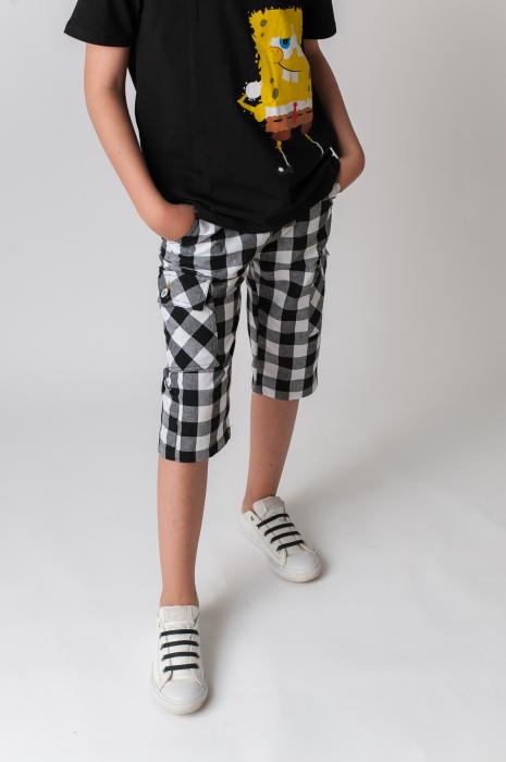 Pantaloni in carouri din  bumbac culori alb si negru [1]
