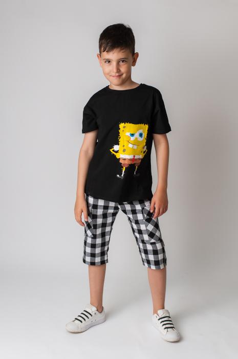 Pantaloni in carouri din  bumbac culori alb si negru [0]