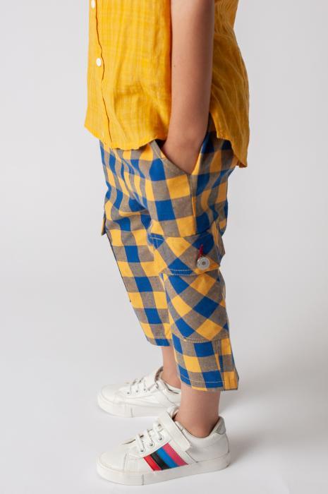 Pantaloni in carouri din  bumbac culori galben si albastru 2