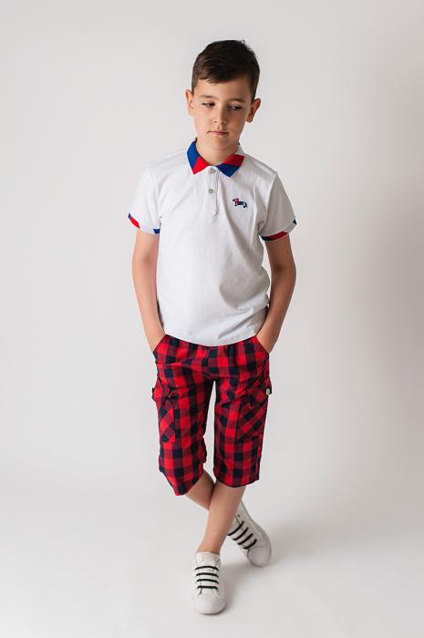 Pantaloni in carouri din  bumbac culori rosu si negru [0]