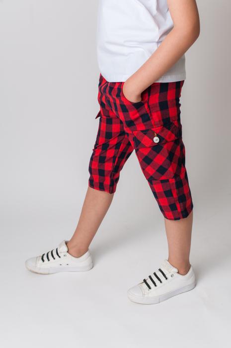 Pantaloni in carouri din  bumbac culori rosu si negru [1]