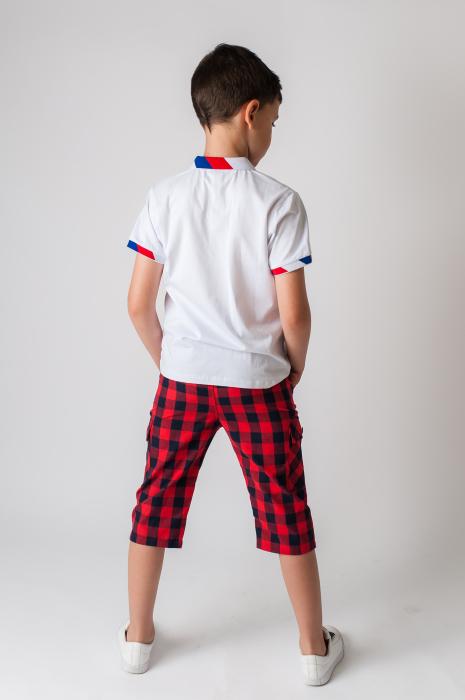 Pantaloni in carouri din  bumbac culori rosu si negru [4]