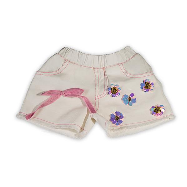 Pantaloni scurti albi cu paiete roz 0