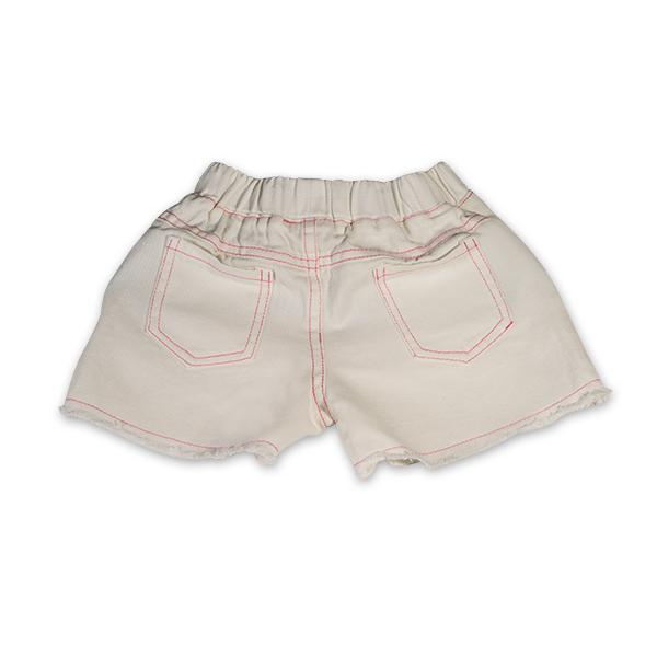 Pantaloni scurti albi cu paiete roz 1