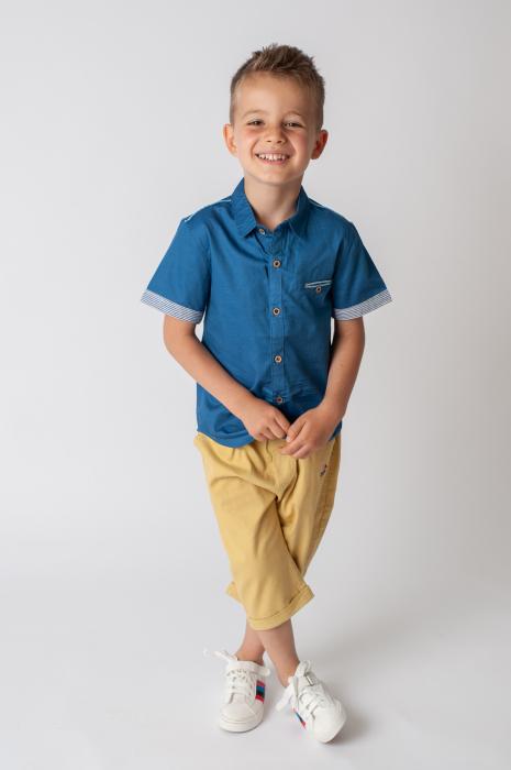 Pantaloni  trei sferturi cu manseta culoare galben mustar 3